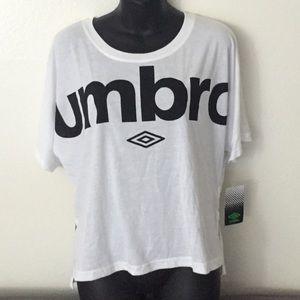 NWT UMBRO White Black Crop Top T-Shirt, Size L